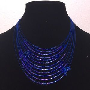 Sequins and Beads Necklace Blue
